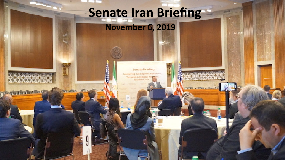 congressional briefing in the U.S. Senate, to discuss the rise of domestic suppression and regional aggression by Tehran.