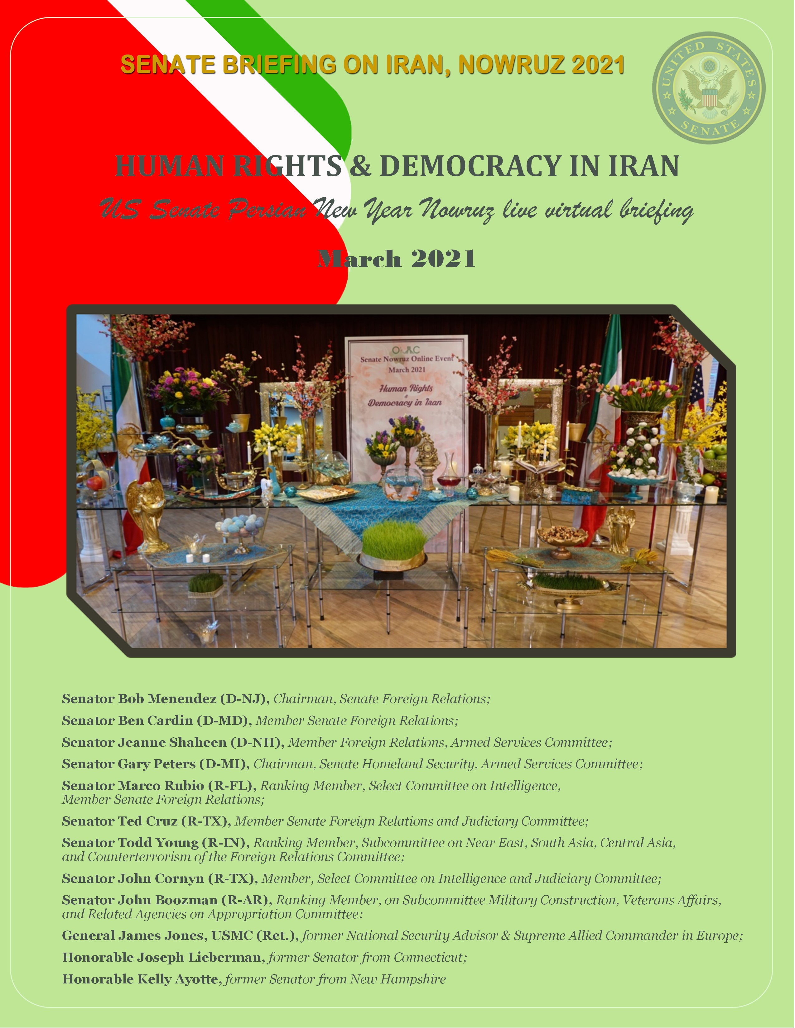 HUMAN RIGHTS & DEMOCRACY IN IRAN US Senate Persian New Year Nowruz live virtual briefing March 2021